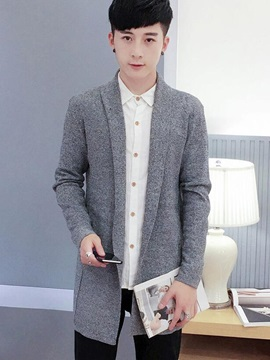 Turn Down Collar Long Pattern Men's Casual Sweater