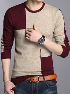 Contrast Color Crew Neck Men's Casual Sweater
