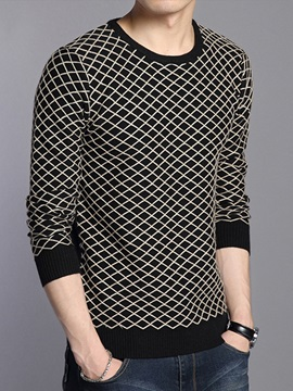 Gridding Casual Men's Round Neck Sweater
