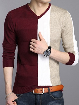 Color Block Crew Neck Men's Casual Sweater