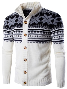 Floral Printed Stand Collar Men's Casual Sweater
