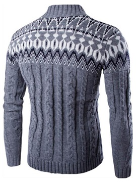 Floral Printed Stand Collar Men's Casual Buttons Sweater