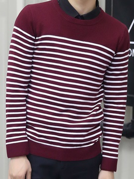 Stripe Loose Fit Men's Round Neck Sweater