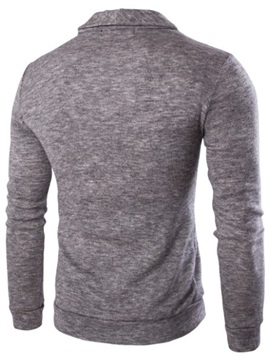 Turn Down Collar Chest Print Men's Single-Breasted Sweater
