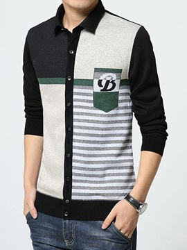 Color Block Single-Breasted Men's Causal Turn Down Collar Sweater