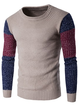 Color Block Casual Men's Long Sleeve Sweater
