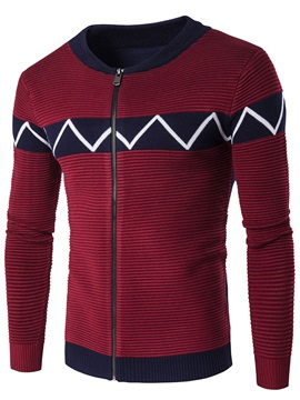 Zipper Vogue Print Men's Casual Sweater