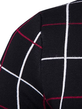 Zipper Plaid Causal Men's Sweater