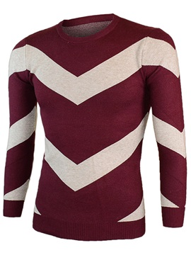 Crew Neck Color Block Men's Casual Sweater