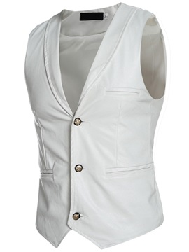 Turn Down Collar Plain Men's PU Vest