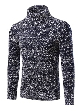 Turtleneck Causal Men's Color Block Sweater