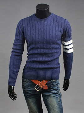 Crew Neck Contrast Color Men's Casual Sweater