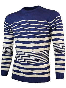 Stripe Round Neck Men's Casual Sweater