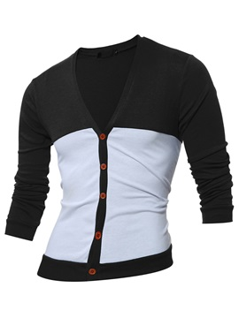 V-Neck Single-Breasted Men's Slim Sweater