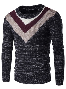 Color Block Round Neck Men's Causal Sweater