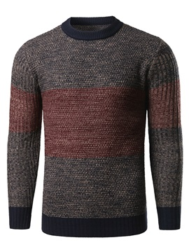 Patchwork Round Neck Men's Causal Sweater