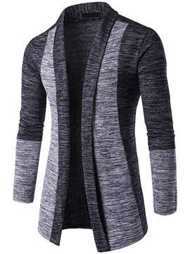 Patchwork Mid-Length Men's Turn Down Collar Knit Wear
