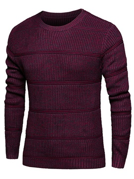 Round Neck Slim Fit Men's Casual Sweater