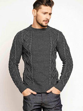 Plain Jacquard Weave Men's Sweater