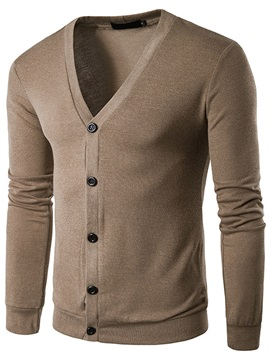 V-neck Pure Color Spring Men's Cardigan