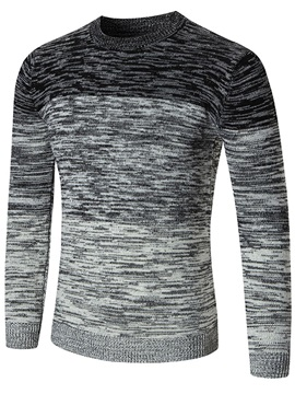 Round Neck Long Sleeve Color Block Men's Sweater