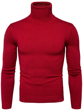 Plain Turtleneck Slim Fit Men's Sweater