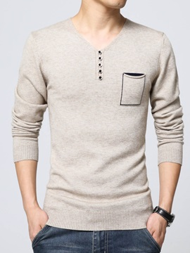 New Fashion Fit V-Neck Long Sleeve Solid Color Men's Sweaters