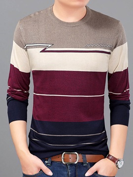 Mosaic Color Slim Round Neck Long Sleeve Men's Sweaters