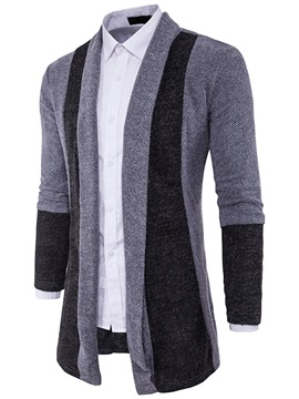 Buttonless Mosaic Color Medium Length Slim Men's Sweater