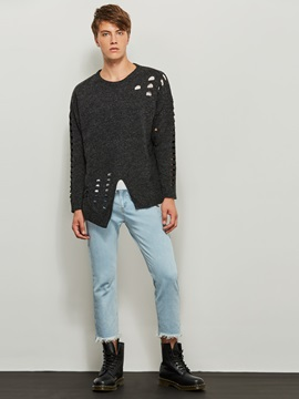 Round Neck Solid Color Hole Pullover Men