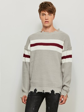Round Neck Worn Stripe Color Block Long Sleeve Pullover Men's Sweater