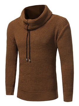 High Collar Solid Color Warm Elastic Slim Men's Sweater