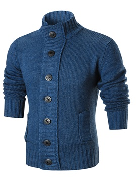 Stand Collar Single-Breasted Warm Men's Sweater