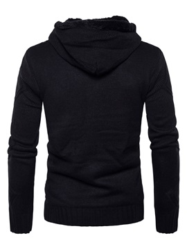 Hooded Slim Horn Button Solid Color Men's Sweater