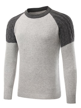 Round Neck Patchwork Color Block Slim Men's Pullover Sweater