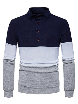 Stand Collar Patchwork Color Block Slim Men's Pullover Sweater