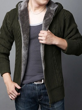 Hooded Solid Color Thicken Warm Zipper Men's Cardigan Sweater
