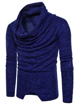 Heap Collar Solid Color Pleat Pullover Men's Sweater