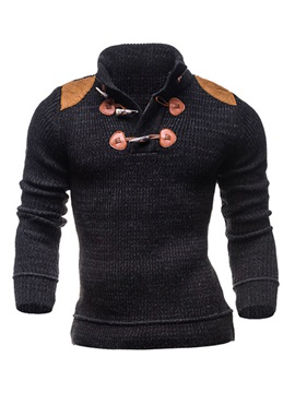 Stand Collar Color Block Slim Pullover Men's Sweater