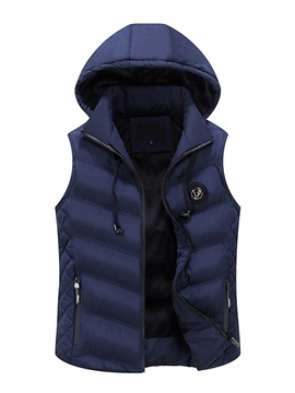 Hooded Solid Color Thicken Men's Winter Vest