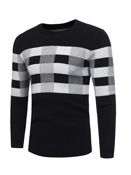 Round Neck Color Block Pullover Long Sleeve Men's Sweater