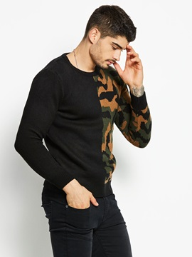 Camo Patchwork Men's fPullover Sweater