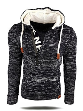 Tidebuy Hooded Zipper Patchwork Pullover Men's Sweater