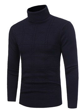 Tidebuy Turtleneck Plain Slim Fit Men's Sweater