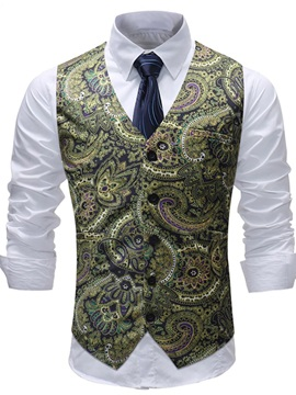 Tidebuy Single-Breasted Floral Print Men's Slim Vest