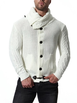 Tidebuy Plain Button Warm Men's Sweater