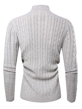 Plain Turtleneck Button Men's Pullover Sweater
