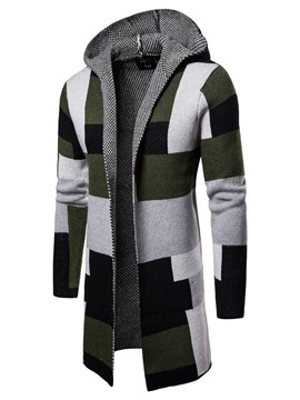 Patchwork Hooded Color Block Men's Cardigan Sweater