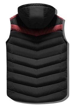 Color Block Zipper Hooded Men's Warm Vest
