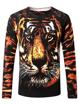 Tiger Print Long Sleeve Men's Casual Sweater